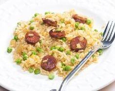 Fried rice with chorizo Sausage Rice, Chorizo Sausage, Risotto Au Chorizo, Rice And Gravy, Tapas, Arroz Frito, Food Staples, Rice Recipes, Fried Rice