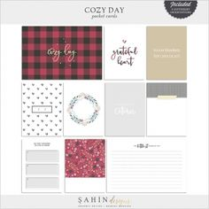 Cozy Day Cards | digital scrapbooking | pocket cards, journal cards, project life, pocket scrapping, hybrid, printable, fall