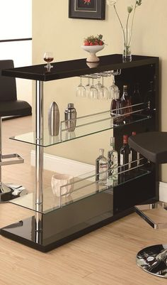 Sleek Gloss White Contemporary Bar Table Set Glass Shelves | Bar ...