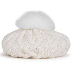 EUGENIA KIM Genevieve cream fur pompom wool beret (£185) ❤ liked on Polyvore featuring accessories, hats, beret hat, cream cable knit hat, cream hat, pom pom hat and wool beret