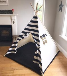 Teepee Tent with Black and White stripes - Modern