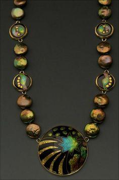 Necklace | Lisa Hawthorne.  Enamel on fine silver, pearls, 22k gold