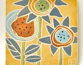 hand carved ceramic art tile contemporary flowers -crowfoot studios (etsy)