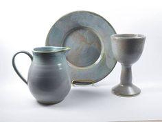 Pottery communion set  3 piece communion set  liturgical