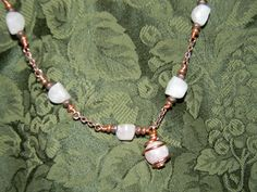 Rose Quartz Wire Worked Necklace. $25.00, via Etsy. Unique Handcrafted Jewelry created by me. :)  Created from beads, wire, ribbon, and charms.  <3  Creative, interesting, and fun to wear!