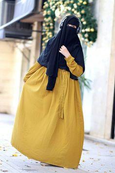 Hijab Niqab, Muslim Hijab, Mode Hijab, Niqab Fashion, Skirt Fashion, Fasion, Muslim Women Names, Muslim Girls, Casual Hijab Outfit