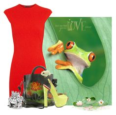"""""""100% frog [prince] approved fashion"""" by annacullart ❤ liked on Polyvore featuring Alexander McQueen, Spring Step, TaylorSays, David Webb and contestentry"""