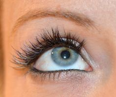 Blue-edged eyelash extensions by Michelle http://www.mobilebeautybrighton.co.uk/