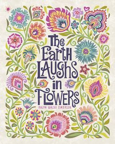 "Wycinanki Giclee Folk Art Print ""The Earth Laughs in Flowers"" in Blossom Colors 8x10 on Beige Background, by Mary Tanana, Groovity"