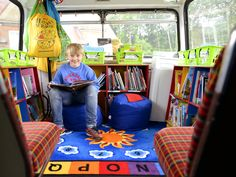 The interior of a London bus which was converted into a library for a South London primary school.