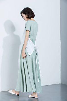 Linen DressPrinted DressSummer DressShort Sleeve DressLong