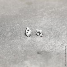 Petite Geometric Earrings - Petite diamond-shaped stud earrings in burnished silver plating Designer Jewellery, Jewelry Design, Alchemy, Fashion Earrings, Plating, Stud Earrings, Jewels, Collections, Diamond