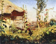 Hollyhocks in the Sun by Jan Stanislawski (1860 - 1907),  before 1900. Oil on canvas on cardboard. 21.5 x 28 cm. Private collection.