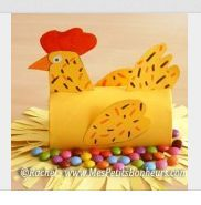 Spring crafts: Chicken sitting on a pile of chocolate eggs. Toilet Roll Craft, Toilet Paper Roll Art, Rolled Paper Art, Paper Towel Crafts, Toilet Paper Roll Crafts, Cardboard Tube Crafts, Easter Art, Easter Crafts, Diy For Kids