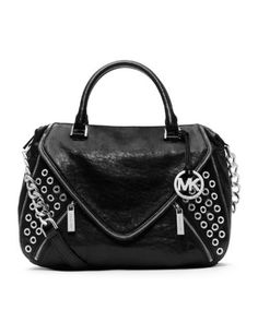 60681cb63517 Michael Kors Black Odette Satchel Michael Kors Odette Grommet black satchel  Silvertone hardware Chain and leather shoulder strap H x 14