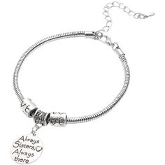 Silver Round Metal Sheets Sentence Lettering Pendant (245 RUB) ❤ liked on Polyvore featuring jewelry, pendants, silver hinged bangle, silver initial pendant, round pendant, metal bangles and silver hinged bracelet
