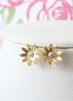 Gold Daisy Gold Flower Ear Studs Cubic Zirconia by GlitzAndLove
