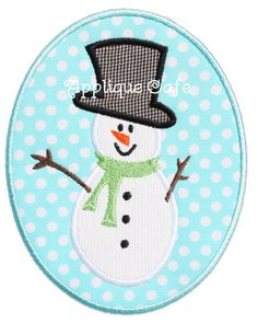043 Snowman Patch Machine Embroidery by AppliqueCafeDesigns