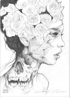 There's more to a women Visual displays exactly that women and skulls and flowers