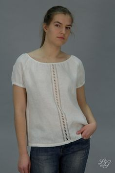 Pure Linen Peasnat Blouse With Handwork On Front by LGlinen, $66.00