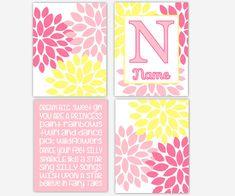 Girl Nursery Art Pink Yellow Flower Burst by DezignerheartDesigns