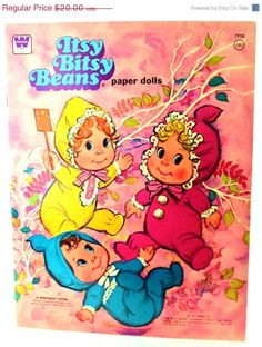 Vintage 1975 Itsy Bitsy Beans Paper Dolls by Mattell, Whitman Pub.