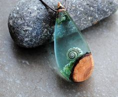 Resin Wood Necklace Sea Green Drop Pendant Moss necklace