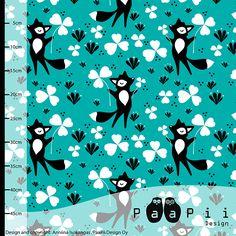 PaaPii Design - Clover fox organic jersey, turquoise