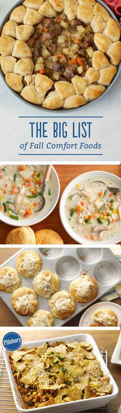 The BIG List of Fall Comfort Foods Time to get cozy! From hearty casseroles to warm-you-up soups, these comfort food recipes pair perfectly with a blanket on a chilly fall day. Fall Recipes, Great Recipes, Favorite Recipes, Recipes Dinner, I Love Food, Good Food, Yummy Food, Yummy Treats, Lard