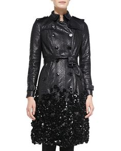 Embellished Python Trench Coat, Black by Burberry London at Neiman Marcus.