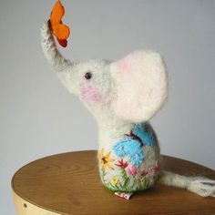 Needle Felted White Elephant PinCushion Handmade by MissBumbles