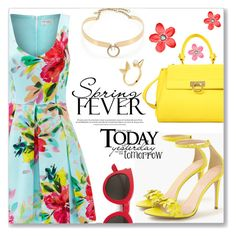 """Spring Fever"" by dressedbyrose ❤ liked on Polyvore featuring Trina Turk, J.Crew, Salvatore Ferragamo, Yves Saint Laurent, Alexis Bittar, red flower, éS, polyvoreeditorial, springdate and spring2016"