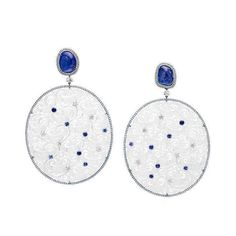 """Suzanne Syz """"China Girl"""" earrings - icy white  jade, blu  sapphires, diamonds."""