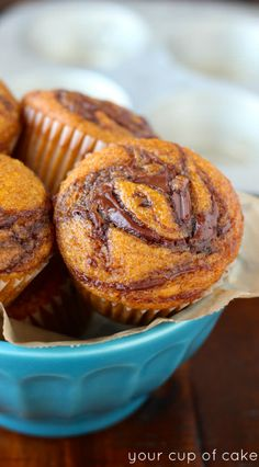 Pumpkin Nutella Muffins, this recipe is so yummy! Perfect for Thanksgiving or Halloween!