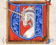 Medieval Illuminated Letter L    This is an archival 4 x 6 print of my original artwork, painted in acrylics on goatskin parchment. It shows a beautifully illuminated letter L painted in a late medieval style, with elaborate acanthus leaves twining within and around the letter. L is for Lute, and so a lover playing the lute decorates the middle of the letter. (The watermark is for the online image only--it does not appear on the print.)    Your print is shipped in a sturdy kraft stay-flat…