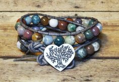Fancy Jasper Double Leather Wrap Bracelet by DesignsByJen1 on Etsy,
