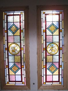 Original Victorian Stained Glass Front Door Stained