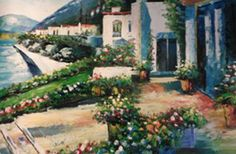 "Original Painting ""On the Patio"" by Howard Behrens"