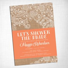 Burlap and Lace Bridal Shower Invitation DIY PRINTABLE