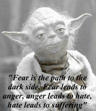Yoda has it right. Religion is based on fear. Fear of death, fear of the unknown… Yoda is the Buddha in Space, the Wisdom of Star Wars Yoda Quotes, Movie Quotes, Life Quotes, Star Wars Tattoo, Fear Leads To Anger, Great Quotes, Inspirational Quotes, Awesome Quotes, Motivational