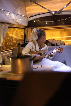 A camper van is the dream! Solar powered fairy lights make it all the more magical