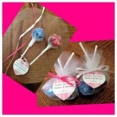 """Sucker for love"" DIY wedding favors using gourmet lollipops, tulle, & ribbon"