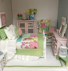 Весна лоскутное одеяло, постельные принадлежности новые и белые Кукольный домик раскладная кровать-1:12 кукольный домик масштаба