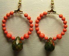 Unakite & Swarovski Pearl Earrings