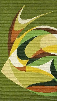 Abstract Modern Danish Rya Flat-Weave Green Wall Hanging Wool Carpet Rug 2