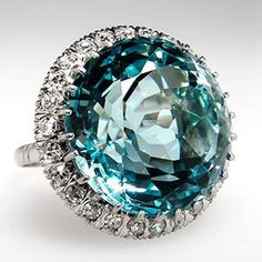 If this ring were mine I would just stare at my hand.Vintage Natural Aquamarine & Single Cut Diamond Cocktail Ring Solid Platinum - August 04 2019 at Gems Jewelry, Gemstone Jewelry, Jewelry Box, Jewelry Accessories, Fine Jewelry, Jewelry Design, Jewellery, Antique Jewelry, Vintage Jewelry