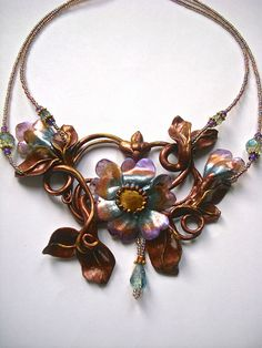 Floral Art Nouveau Necklace | tresjoliedesignsbysue.com | Unique, hand-crafted, polymer clay jewelry and accessories by Sue Evenson