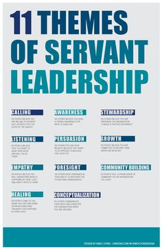 """11 themes of servant leadership."" Tips, activities, skills and ideas on leadership development including developing women. Helps bring the qualities of good leadership to life. Works well with leadership, success, motivation and inspirational quotes. For more great inspiration follow us at 1StrongWoman."