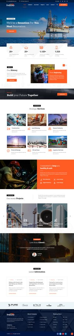 Buy Induxo - Industry WordPress Theme by trippleS on ThemeForest. Industrial WordPress Theme Induxo is a clean and classy look business WP theme for Industry Services, Factory, Power,. Html Css, Website Layout, Website Ideas, Website Designs, Web Layout, Design Your Own Website, Web Design Mobile, Page Design, Design Design