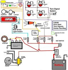 simple motorcycle wiring diagram for choppers and cafe racers evan rh pinterest com honda motorcycle electrical wiring diagram honda motorcycle wiring diagrams pdf